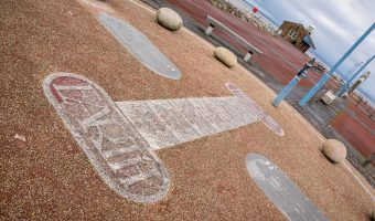 Photograph of Magpie Hopscotch by Gordon Young and Russell Coleman. Located at the Stone Jetty, Morecambe Promenade.