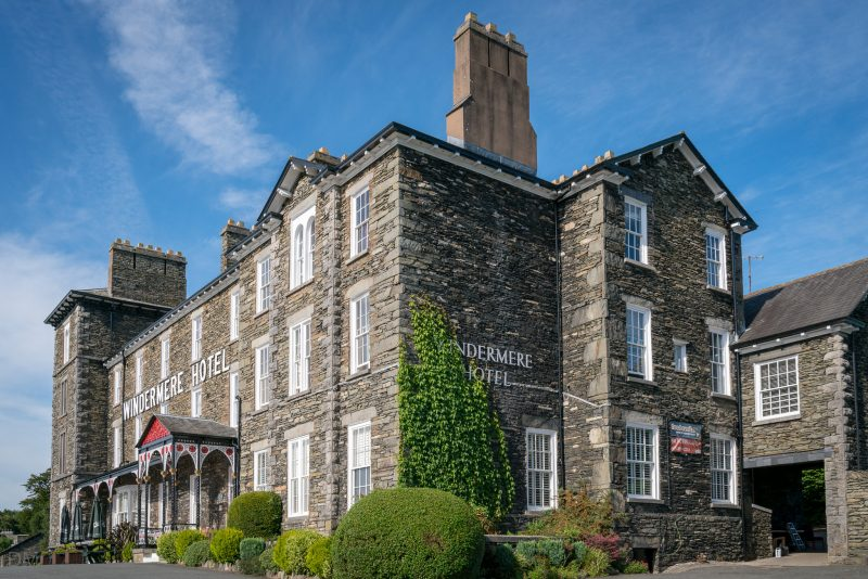 Photograph of the Windermere Hotel on Kendal Road in Windermere. The historic hotel offers around 70 bedrooms and boasts views over Windermere.