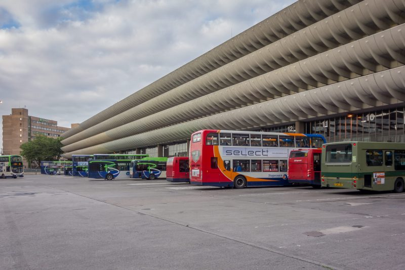Photograph of buses parked at Preston Bus Station, Preston, Lancashire.