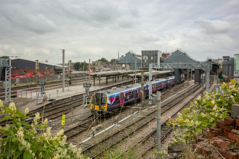 Photograph of a train departing from Preston Train Station, Preston, Lancashire.