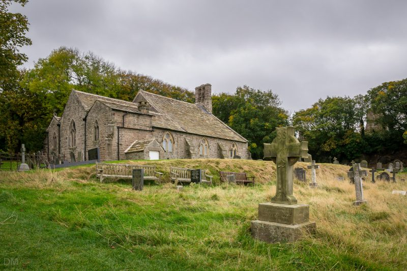 Photo showing view of St Peter's Church and graveyard, Heysham, Lancashire.