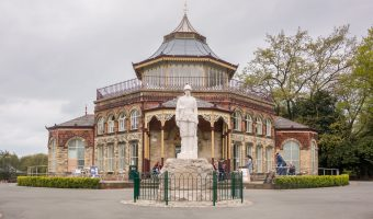 Photo of the Pavilion and Boer War Memorial at Mesnes Park in Wigan. Today the Pavilion houses the park's cafe.