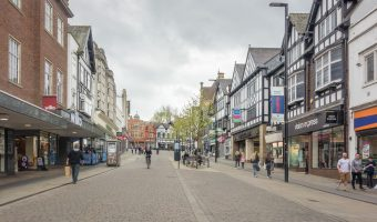 Photograph of Standishgate, a busy shopping street in Wigan town centre.