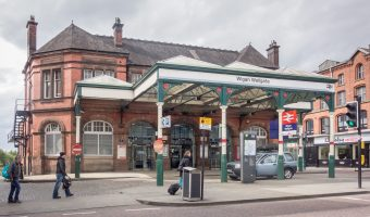 Photograph of entrance to Wigan Wallgate Train Station, Wigan, Greater Manchester.