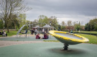Photograph of the playground at Mesnes Park in Wigan.