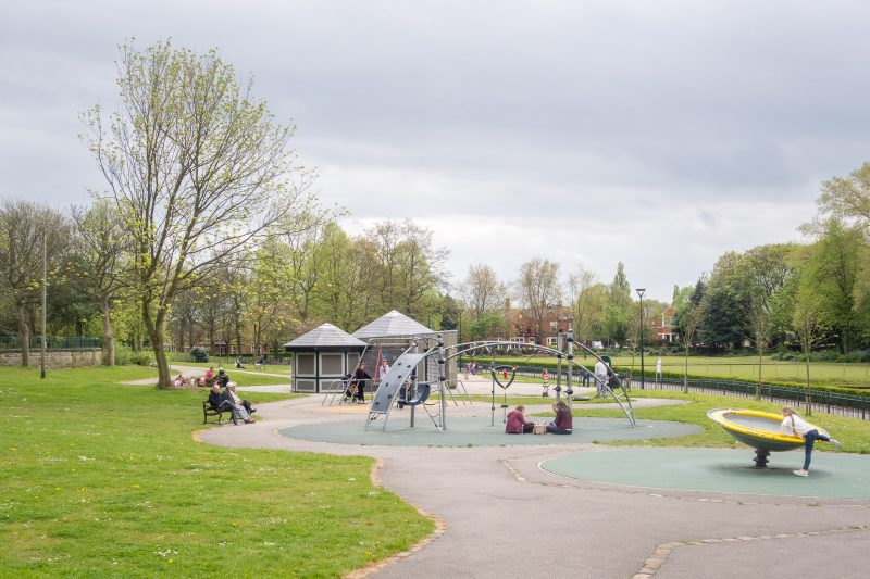Photo of the children's playground at Mesnes Park, Wigan, Greater Manchester.