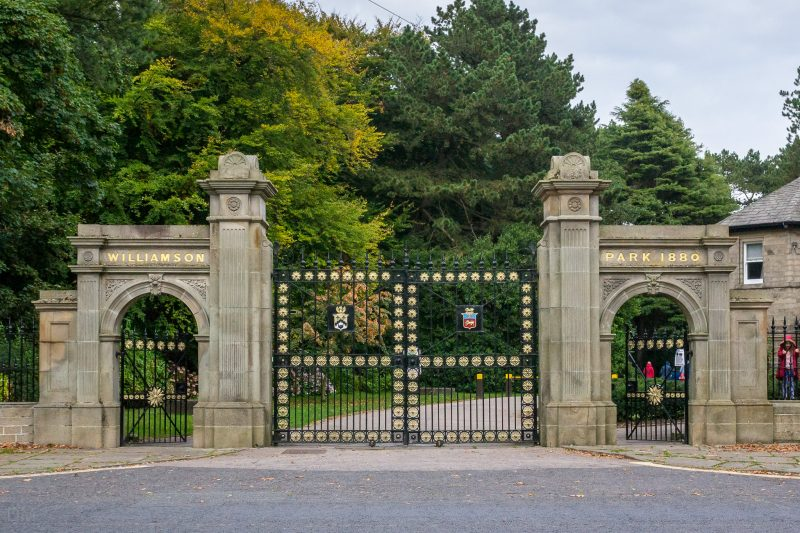 Photo of the Williamson Park gate/entrance on Wyresdale Road. The Grade II listed structure was erected in 1880.