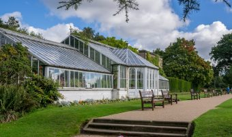 Photo of the 19th century glass conservatory at the Formal Gardens in Worden Park, Leyland, Lancashire.