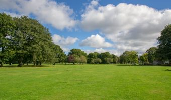Photograph of a playing field at Worden Park in Leyland, Lancashire.