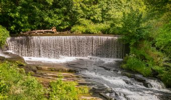 Photograph of Birkacre Weir on the River Yarrow, at Yarrow Valley Country Park in Chorley.