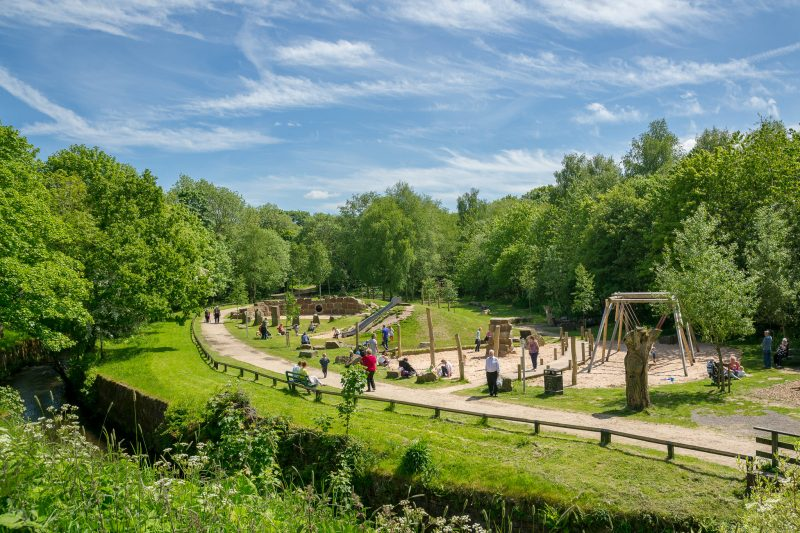 Photo of the play area at Yarrow Valley Country Park in Chorley, Lancashire. View from Big Lodge.