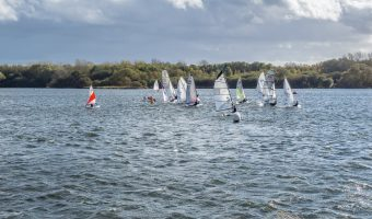 Photograph of boats from the Leigh and Lowton Sailing Club on The Flash at Pennington Flash Country Park.