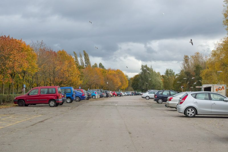 Photograph of the main car park at Pennington Flash Country Park in Leigh, Greater Manchester.