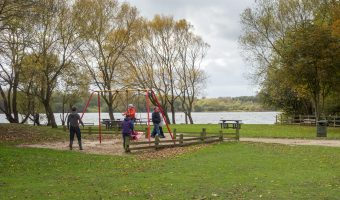 Photograph of the picnic area and children's swing at Pennington Flash Country Park in Leigh, Greater Manchester.