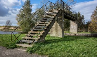 Photograph of footbridge over the Leeds and Liverpool Canal. Taken at Pennington Flash Country Park, Leigh.
