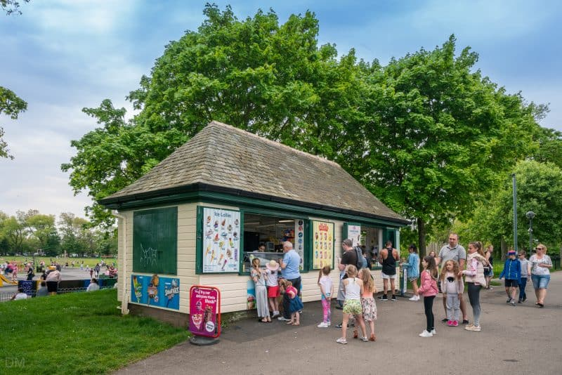 Photo of children queuing at Ice Cream Kiosk at Stanley Park, Blackpool.