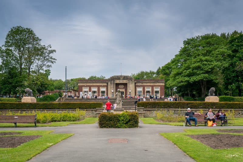 Photo of the Art Deco Cafe at Stanley Park in Blackpool. Viewed from the Italian Garden.