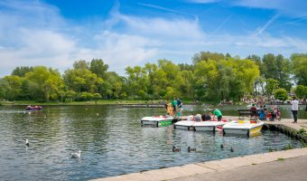 Photo of boats for hire on the Boating Lake at Stanley Park, Blackpool, Lancashire.