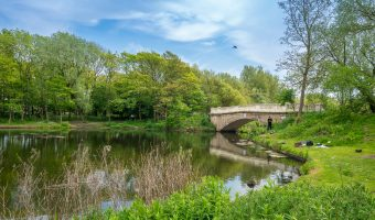 Photo of an Italianate style stone bridge over the Boating Lake at Stanley Park, Blackpool.