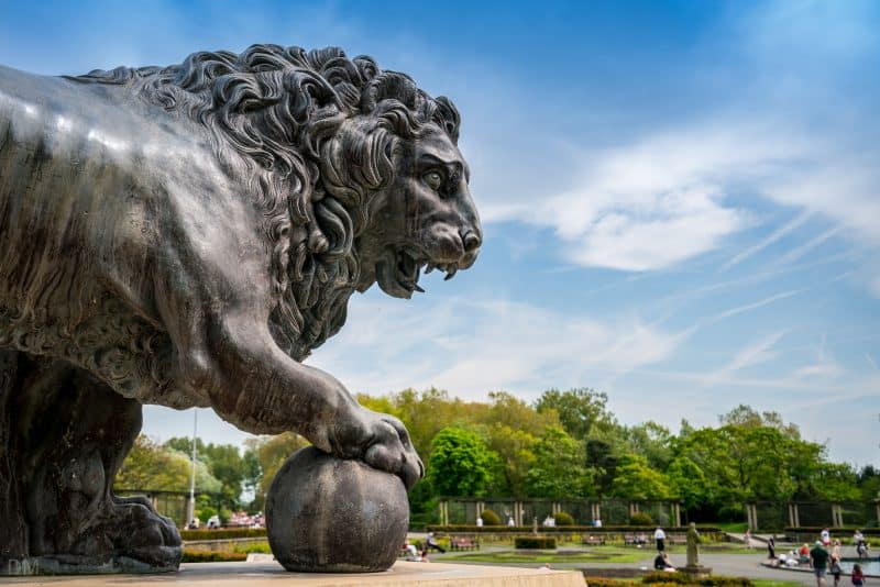 Photo of one of the Medici Lions at Stanley Park, Blackpool.