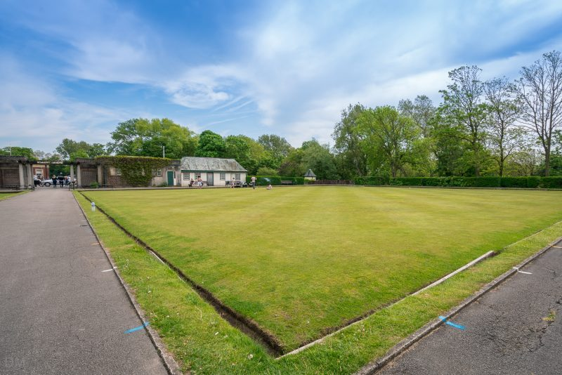 Photograph of one of the bowling greens at Stanley Park, Blackpool.