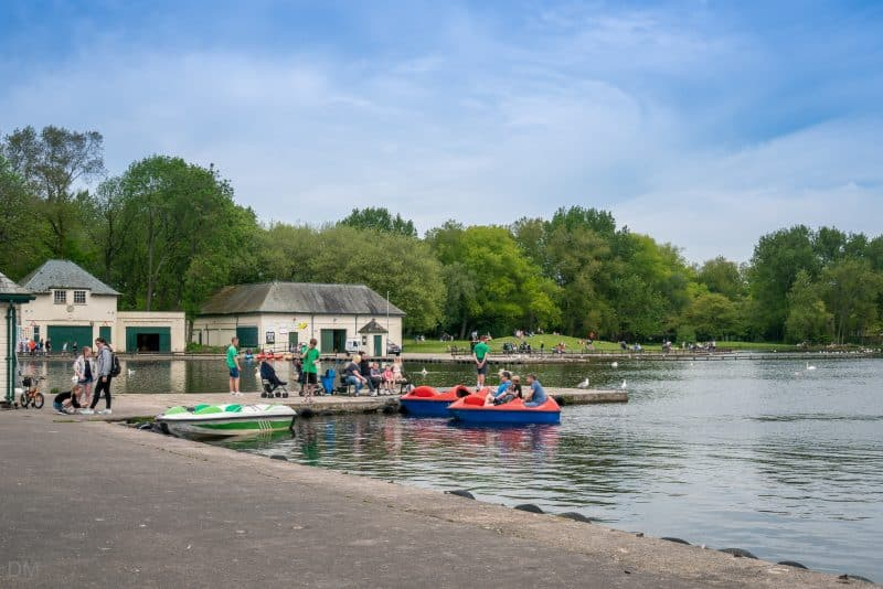 Boat hire on the Boating Lake at Stanley Park, Blackpool.