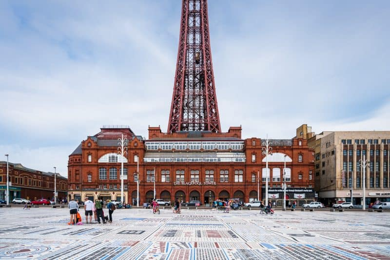 Photograph of the Comedy Carpet and Blackpool Tower.