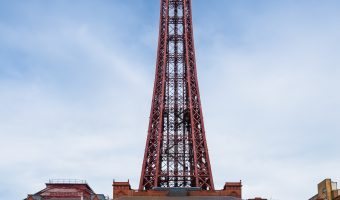 Photograph of Blackpool Tower and the Comedy Carpet in Blackpool, Lancashire.