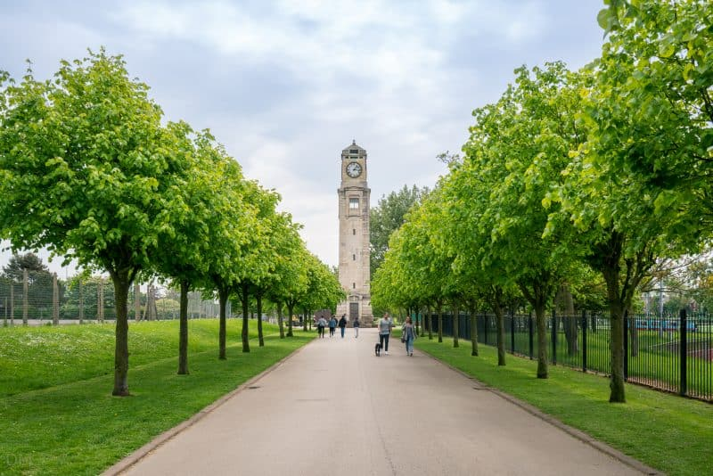 Photograph of the Cocker Tower and Cocker Walk at Stanley Park, Blackpool.