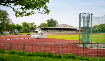 Photograph of the athletic arena at Blackpool Sports Centre in Stanley Park.