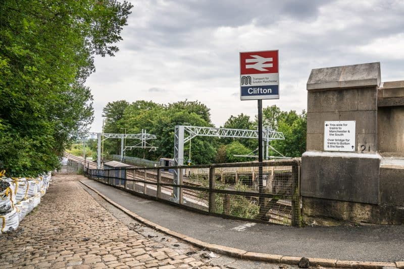 Photograph of the path leading to the plaform at Clifton Train Station in Salford, Greater Manchester.