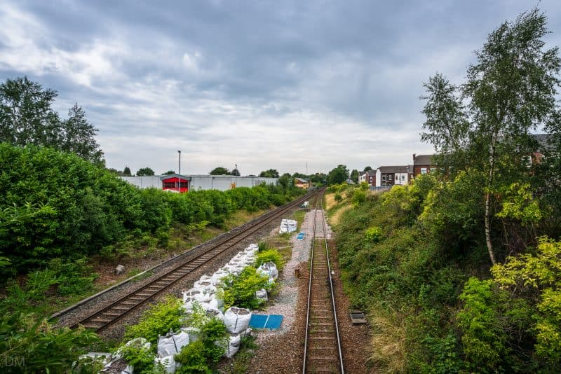 View of tracks leading to Swinton Train Station.