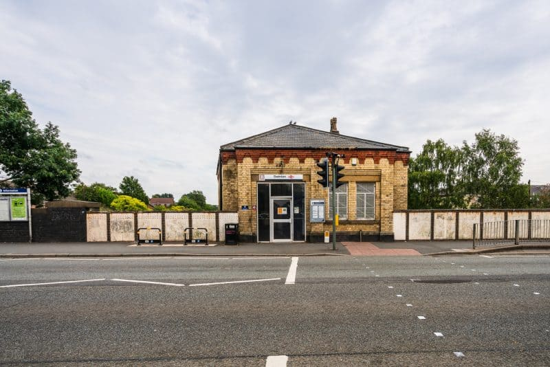 View of Swinton Train Station from Station Road, Salford, Greater Manchester.