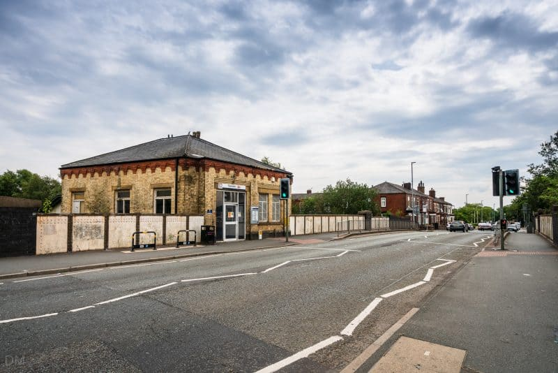 View of Swinton Train Station and Station Road, Swinton, Salford, Greater Manchester.