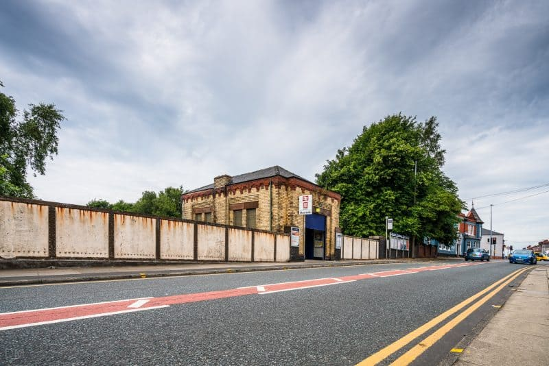 Photo of Moorside Road and Moorside Train Station in Swinton, Greater Manchester.
