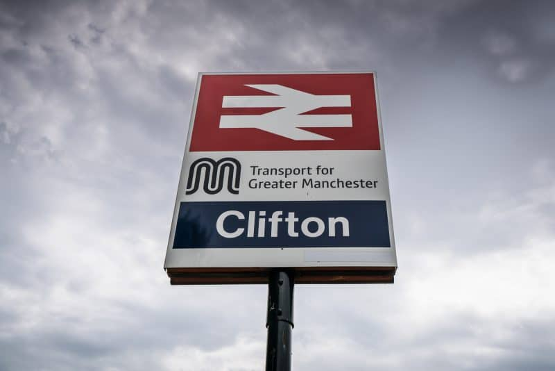 Photograph of a sign at Clifton Train Station in Salford, Greater Manchester.
