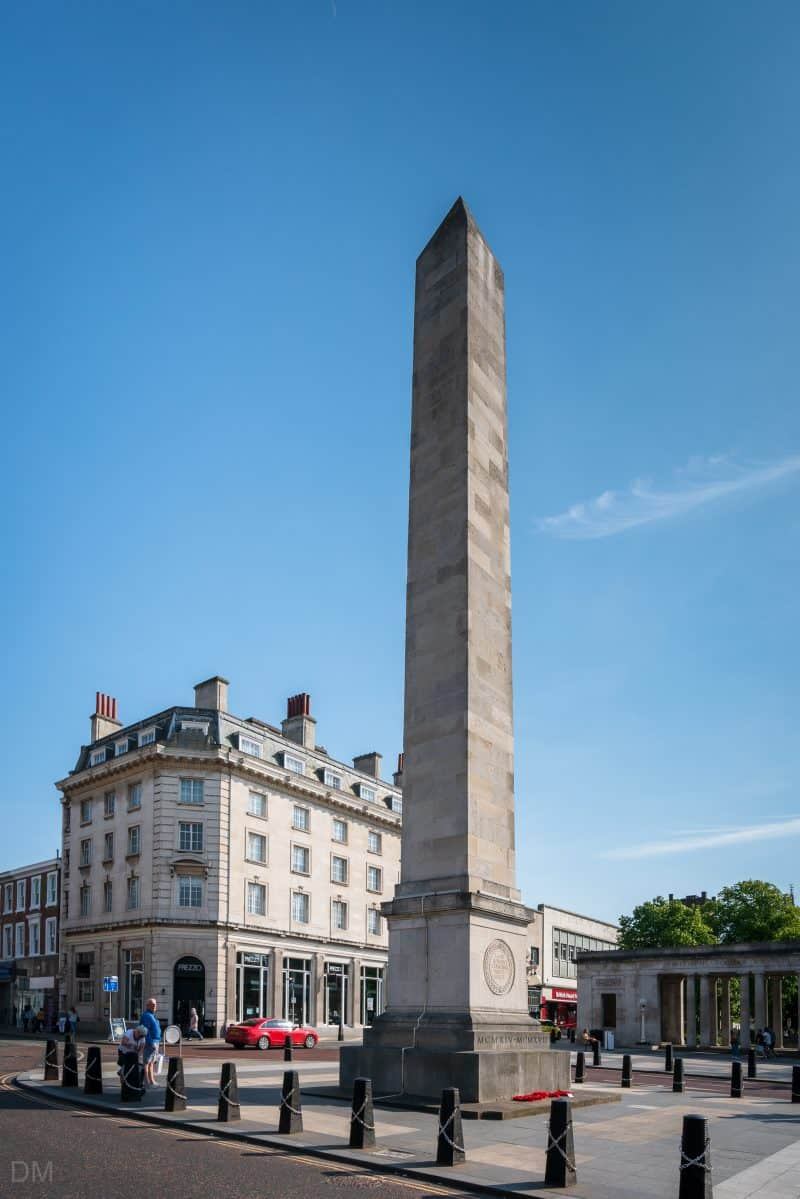 Photograph of the obelisk of Southport War Memorial, Lord Street, Southport.