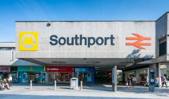 Photograph of entrance to Southport Train Station on Chapel Street, Southport, Merseyside.