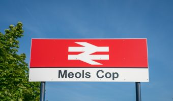 Photograph of sign at Meols Cop Train Station, Southport.