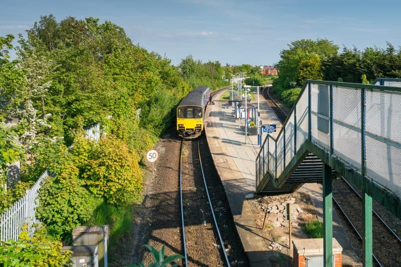 Photograph of train at Meols Cop Train Station, Southport, Merseyside.