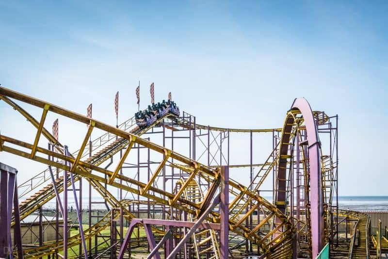 Photograph of the Looping Rollercoaster at Southport Pleasureland, Merseyside.
