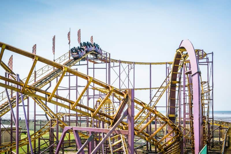 Photo of the rollercoaster at Southport Pleasureland.
