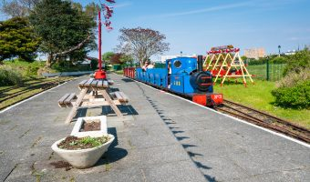 Photograph of a train at Pleasureland Station, Lakeside Miniature Railway, Southport.