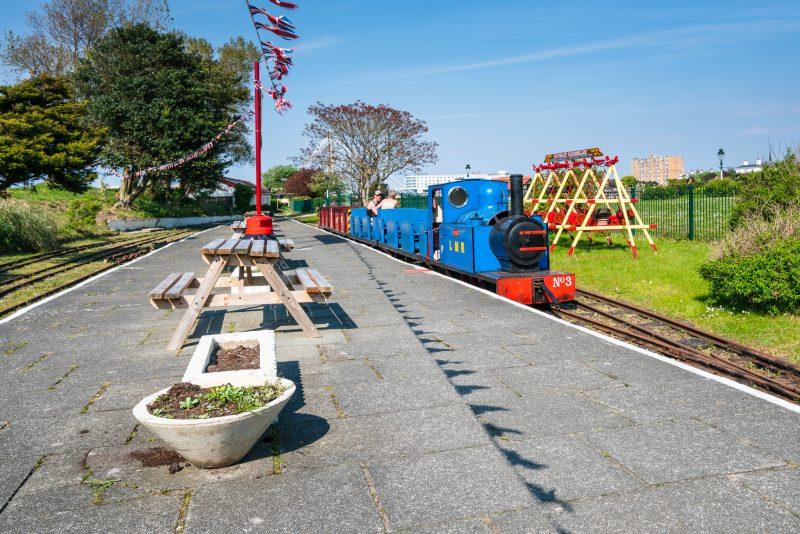 Photograph of a train at Pleasureland Station, Lakeside Miniature Railway, Southport.