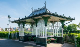 Photograph of a cast iron shelter at King's Gardens, Southport, Merseyside.