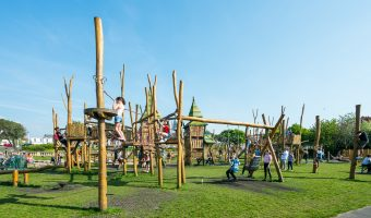 Photograph of Tree Top Towers play area at King's Gardens, Southport, Merseyside.