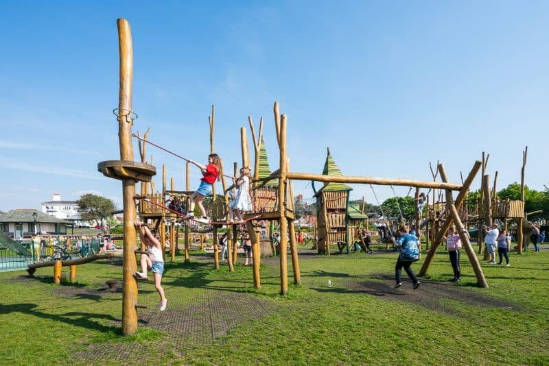 Photograph of Tree Top Towers, the adventure play area at King's Gardens in Southport, Merseyside.