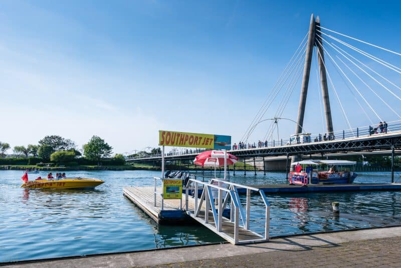 Photograph of the Southport Jet boat ride at Marine Lake/King's Gardens in Southport, Merseyside.