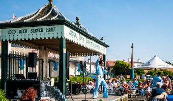 Photo of Elvis tribute act. Live entertainment at Marine Lake Cafe, Marine Lake/King's Gardens, Southport, Merseyside.