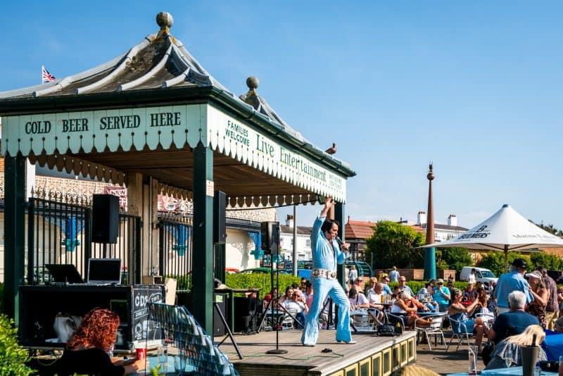 Photo of Elvis tribute act. Live entertainment at Marine Lake Cafe, Marine Lake/King's Gardens, Southport, Merseyside.
